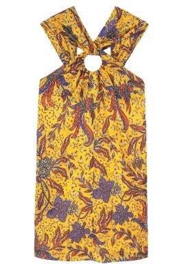 Vestido tubo con print de flores en tabaco de Mango