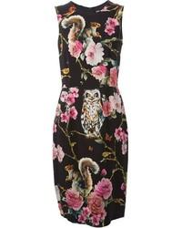 Vestido tubo con print de flores negro