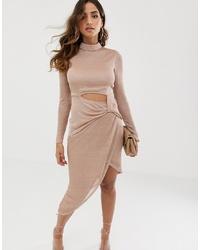 Vestido tubo con recorte en beige de ASOS DESIGN