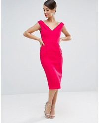 Vestido tubo con relieve rosa de Asos