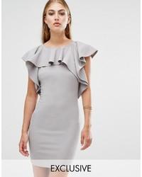 8ea3c0e43e Comprar un vestido tubo con volante gris  elegir vestidos tubo con ...