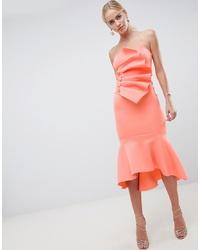 Vestido tubo con volante naranja de ASOS DESIGN