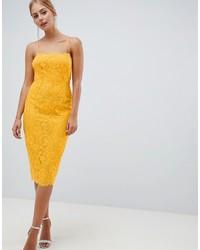 Vestido tubo de encaje amarillo de ASOS DESIGN