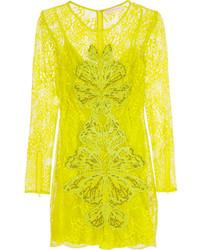 Vestido tubo de encaje amarillo de Matthew Williamson