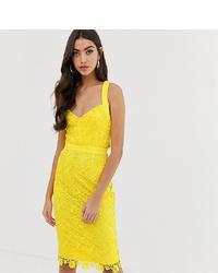 Vestido tubo de encaje amarillo de Paper Dolls Tall