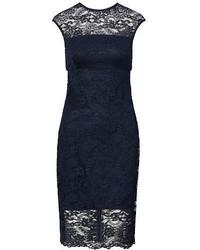Vestido tubo de encaje azul marino