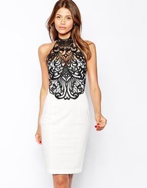 Vestido blanco y negro con encaje
