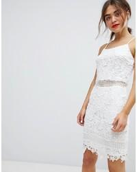 Vestido Tubo de Encaje Blanco de Parisian