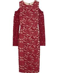 Vestido tubo de encaje con recorte rojo de Alice + Olivia