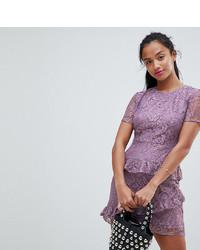 Vestido tubo de encaje con volante en violeta de Fashion Union Petite