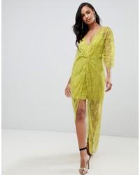Vestido tubo de encaje en amarillo verdoso de ASOS DESIGN