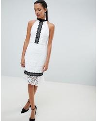 Vestido tubo de encaje en blanco y negro de Chi Chi London