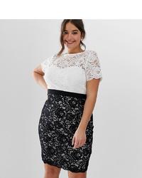Vestido tubo de encaje en blanco y negro de Paper Dolls Plus
