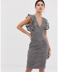 Vestido tubo de encaje gris de Girl In Mind