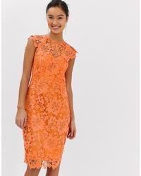 Vestido tubo de encaje naranja de Paper Dolls