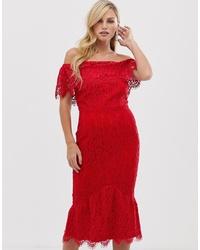 Vestido tubo de encaje rojo de Little Mistress