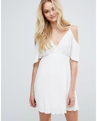Vestido tubo de gasa plisado blanco de Love