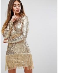 Vestido tubo de lentejuelas dorado de PrettyLittleThing