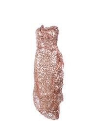 Vestido tubo de lentejuelas dorado de Rubin Singer