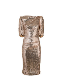 Vestido tubo de lentejuelas dorado de Talbot Runhof