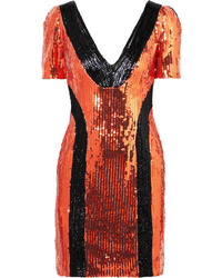 Vestido tubo de lentejuelas naranja