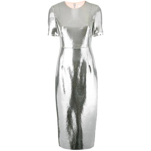 Vestido tubo de lentejuelas plateado de Dvf Diane Von Furstenberg