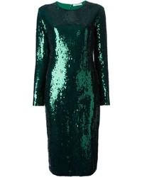 Vestido tubo de lentejuelas verde oscuro de Givenchy