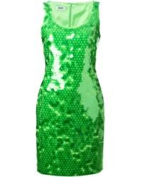 Vestido tubo de lentejuelas verde de Moschino Cheap & Chic
