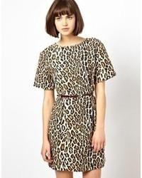 Vestido tubo de leopardo marrón claro de Baum Und Pferdgarten