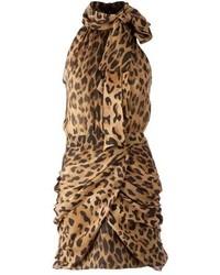 Vestido tubo de leopardo marrón de Balmain