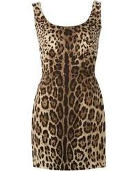 Vestido tubo de leopardo marrón de Dolce & Gabbana