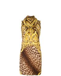 Vestido tubo de leopardo marrón de Versace Vintage