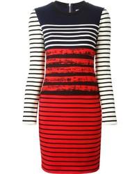 Vestido tubo de rayas horizontales en rojo y negro de Petit Bateau