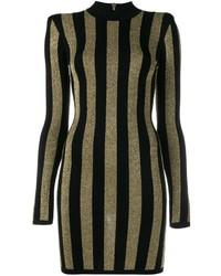 Vestido tubo de rayas verticales en negro y dorado