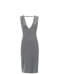 Vestido tubo de rayas verticales gris de Tufi Duek