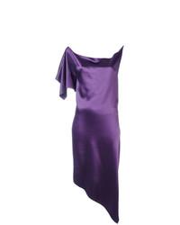 Vestido tubo de satén en violeta de Area