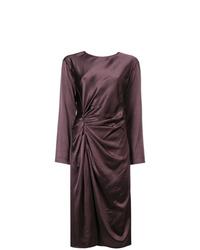 Vestido tubo de satén morado oscuro de Helmut Lang