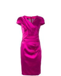 Vestido tubo de satén rosa de Talbot Runhof