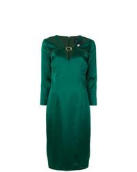 Vestido tubo de satén verde de Cavalli Class