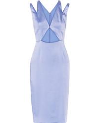Vestido tubo de seda con recorte celeste de Cushnie et Ochs