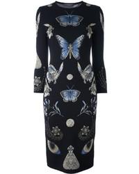 Vestido tubo de seda de punto negro de Alexander McQueen