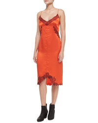 Vestido tubo de seda naranja