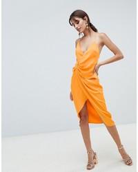 Vestido tubo de seda naranja de ASOS DESIGN