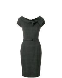 Vestido tubo de tartán en gris oscuro de Moschino Vintage