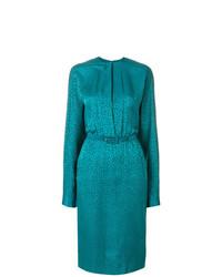 Vestido tubo en verde azulado de Jean Louis Scherrer Vintage