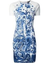 Vestido tubo estampado en blanco y azul de Ralph Lauren