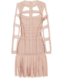 Vestido tubo сon flecos rosado