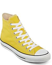 converse hombre amarillas altas