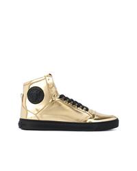 Zapatillas altas con adornos doradas de Versace