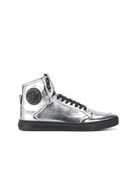 Zapatillas altas con adornos plateadas de Versace